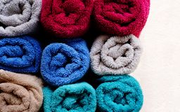Free Different Colors Soft And Fresh Rolled Towels From Above View With Free Copy Space Stock Image - 165584731
