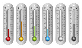 Different Colors Thermometers Royalty Free Stock Photos