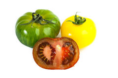 Different colors tomatos, Solanum lycopersicum Royalty Free Stock Photography