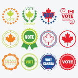 Different colors Vote Canada emblems and design elements set Stock Image