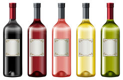 Different colors of wine bottles. Illustration Royalty Free Stock Photos