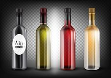 Different colors wine bottles set. Black, transparent - green, red pink, rose and white bottles. Vector illustration, customisable and easy to change colors vector illustration