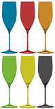 Different colors of wine glasses Royalty Free Stock Image