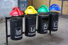 Different colour bins stock photography