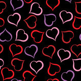 Different colour hearts pattern on black background. Illustration. Different colour hearts pattern on black background Vector Illustration