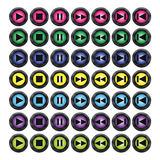 Different colour media buttons Royalty Free Stock Image