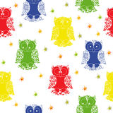 Different colour owl and stars seamless pattern Royalty Free Stock Images