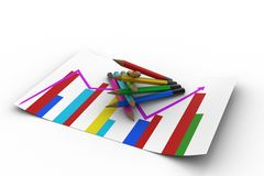 Different colour pencils with graph Stock Images