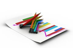 Different colour pencils with graph Royalty Free Stock Image