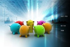 Different colour piggy banks with gold coin. In color background Stock Images