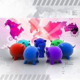 Different colour piggy banks with gold coin. In color background Royalty Free Stock Photos