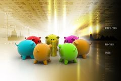 Different colour piggy banks with gold coin. In color background Royalty Free Stock Image