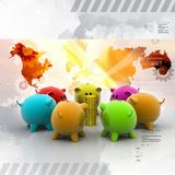 Different colour piggy banks with gold coin. Digital illustration of Different colour piggy banks with gold coin Royalty Free Stock Image