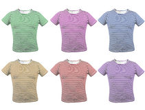 Different colour striped T-shirt. Front. Royalty Free Stock Images