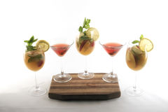 Different coloured cocktails and drinks. stock photo