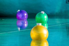 Christmas Floating baubles. Different coloured floating Christmas baubles Royalty Free Stock Images