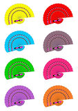 Different coloured hand held fans Stock Images