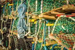 A close up view of lobster pots and ropes. royalty free stock image