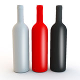 Different coloured matt vodka, spirits or wine bottle shapes. Red, white and black bottles for alcohol or water design Stock Photos