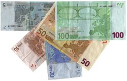 Different colourful euros isolated, savings wealth. Pile of different grunge (grungy) vintage colourful money (savings in 5, 10, 20, 50, 100 euro banknotes) Stock Images
