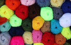 Colourful wool balls stock images