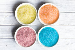 Different colours of bath salt Stock Photo