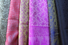 Different colours of indian  fabric Stock Photos