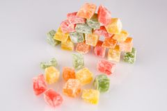 Different colours Turkish delight on white background.  royalty free stock photo