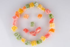 Different colours Turkish delight on white background.  stock photo