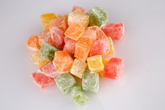 Different colours Turkish delight on white background.  royalty free stock photos
