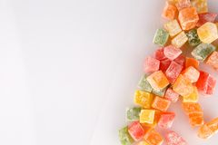 Different colours Turkish delight on white background.  royalty free stock images