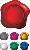 Different colours of wax seals. Coloured wax seals isoalted on a white background, uses gradient mesh Stock Photography