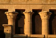 Different columns ionic, Doric in the Temple of God Horus at Edfu island, Egypt, North Africa royalty free stock images