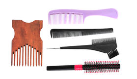 Different combs on white background Royalty Free Stock Photography