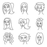 Different comic woman faces. Scared, offended and funny look, hand-drawn illustration Royalty Free Stock Photography