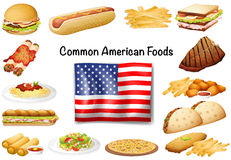 Different common American food set Stock Image