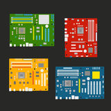 Different computer mainboards collection Royalty Free Stock Photos