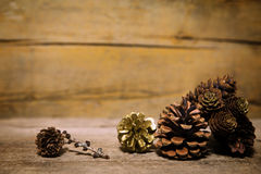 Different cones on old wooden table, wooden background Royalty Free Stock Image