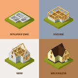 Different construction stages. Isometric vector pictures. Building construction and architecture, illustration of installation and sewage stock illustration
