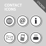 Different Contact Icons - Sticker Vector. Illustration - Isolated On White Background Royalty Free Stock Photography