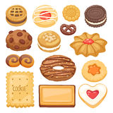 Different cookie cake isolated vector illustration Royalty Free Stock Photography