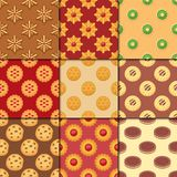 Different cookie cakes seamless pattern background sweet food tasty snack biscuit sweet dessert vector illustration. Stock Images