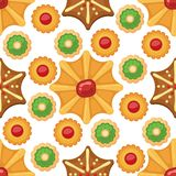 Different cookie cakes seamless pattern background sweet food tasty snack biscuit sweet dessert illustration. vector illustration