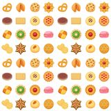 Different cookie cakes seamless pattern background sweet food tasty snack biscuit sweet dessert vector illustration. vector illustration