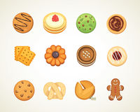Different cookie cakes top view sweet food isolated on white background vector illustration vector illustration