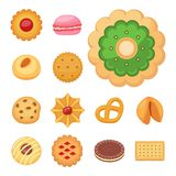 Different cookie cakes top view sweet food tasty snack biscuit sweet dessert illustration. stock illustration