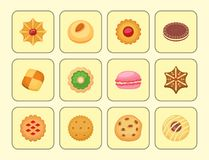 Different cookie cakes top view sweet food tasty snack biscuit sweet dessert vector illustration. Cookie cartoon homemade confectionery food royalty free illustration