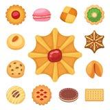 Different cookie cakes top view sweet food tasty snack biscuit sweet dessert vector illustration. vector illustration