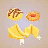 Different cookie homemade breakfast bake cakes isolated and tasty snack biscuit pastry delicious sweet dessert bakery. Eating vector illustration. Gourmet Royalty Free Stock Images