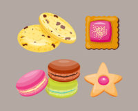 Different cookie homemade breakfast bake cakes  and tasty snack biscuit pastry delicious sweet dessert bakery. Eating vector illustration. Gourmet indulgence Royalty Free Stock Photo